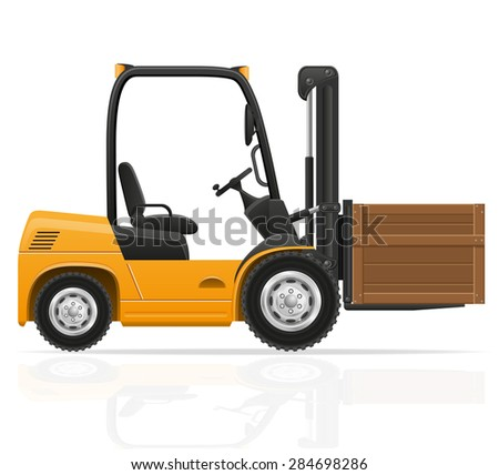 forklift truck illustration isolated on white background - stock photo