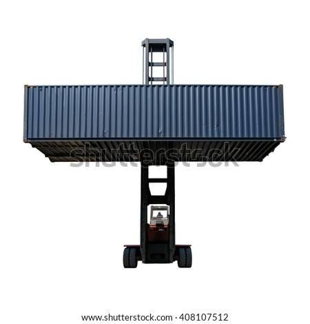 Forklift truck lifting cargo shipping containers isolate on white background - stock photo