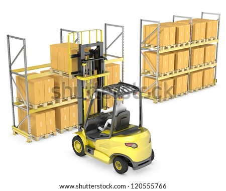 Forklift truck loads pallet on the rack, isolated on white background - stock photo