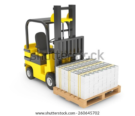 Forklift Truck moves Stacked Dollars on a white background - stock photo