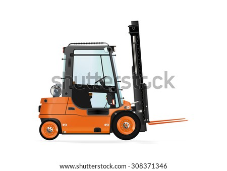 Forklift truck on the white background. Raster illustration. - stock photo