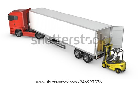 Forklift unloads or loads white blank semi-trailer isolated on white background - stock photo