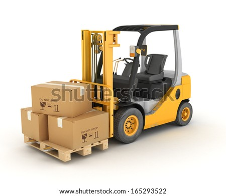 forklift with boxes in a pallet. Isolated - stock photo