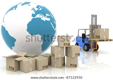 Forklift with boxes is isolated on a white background