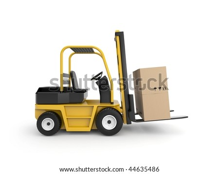 Forklift with cardboard box - stock photo