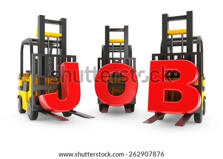 Forklift with Job Letters on a white background - stock photo