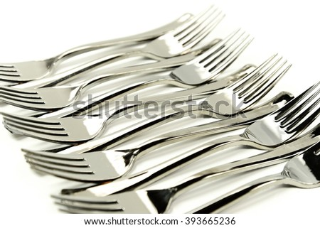forks  cutlery  on white background