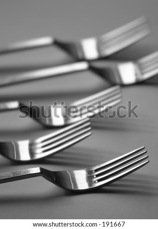 Forks in black and white