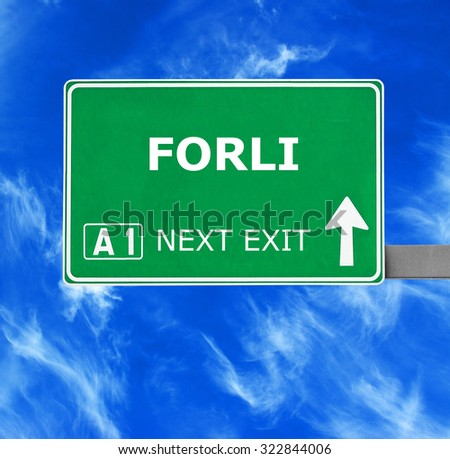 FORLI road sign against clear blue sky
