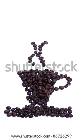 form a coffee cup made of coffee bean - stock photo