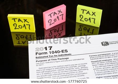 Form 1040 ES Estimated Tax Individuals United Stock Photo (Edit Now ...