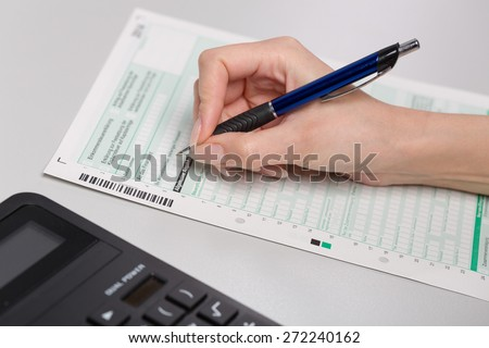 form for annual tax declaration - stock photo