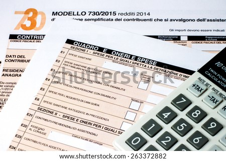 form to fill Italian called  730/2015 for the tax return of 2014 - stock photo