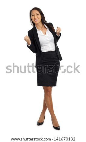 Formal Asian Business woman cheering success
