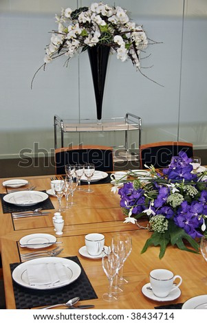Decoration Dining Table Valentines Day White Stock Photo 44494531