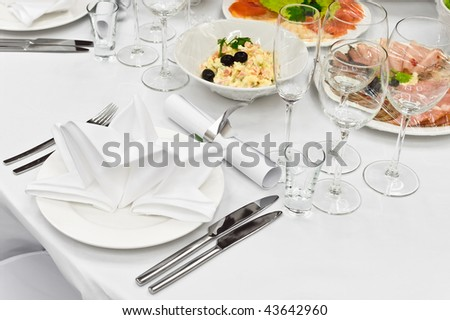 Formal dinner service as at a wedding, banquet - stock photo