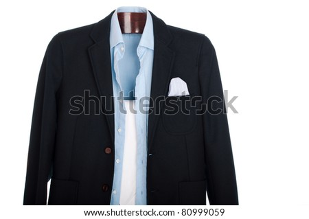 formal man dressing for a celebration, event, job interview or wedding on a wooden hanger (shirt, jacket and trousers) isolated on white background