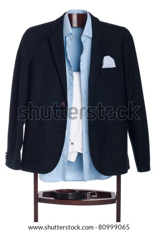 formal man dressing for a celebration, event, job interview or wedding on a wooden hanger (shirt, jacket, trousers and belt) isolated on white background