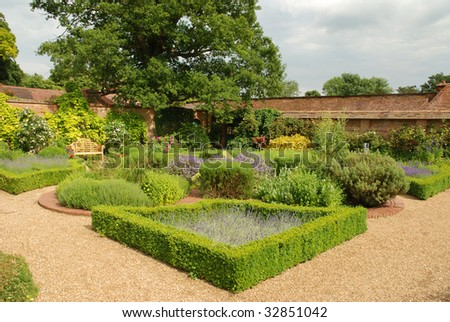 Formally laid gardens at an English country estate