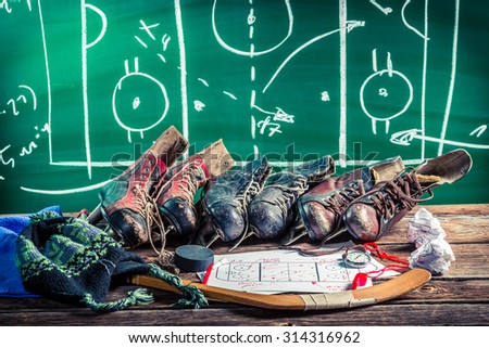 Formation tactics in ice hockey matches - stock photo
