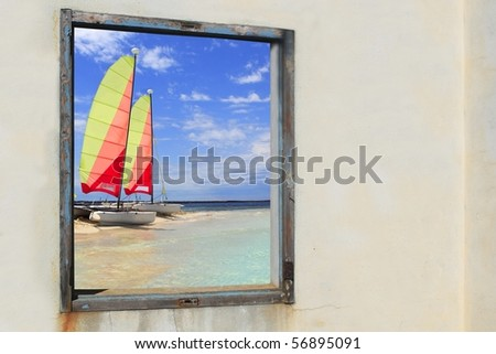 Formentera beach hobie cat Illetes view from aged vintage window [Photo Illustration]