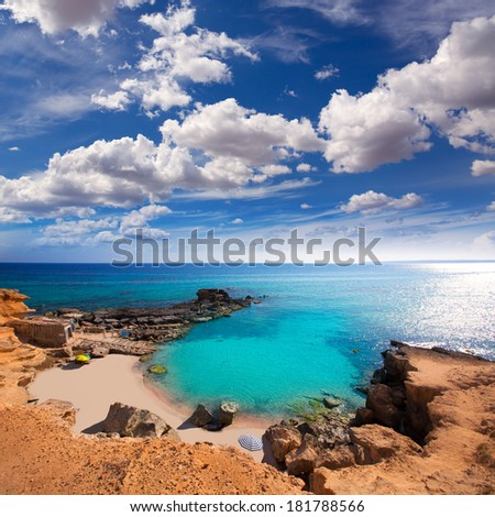 Formentera Es Calo des Mort beach turquoise Mediterranean at Mitjorn of balearic islands - stock photo