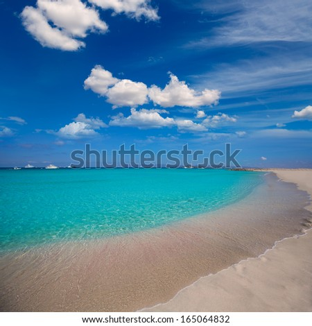 Formentera Illetes Illetas tropical beach near Ibiza at Balearic islands of Spain