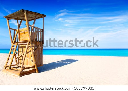 Formentera Llevant beach lifeguard house in white sand and turquoise idyllic water