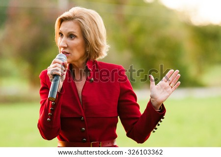 Former Hewlett Packard CEO Carly Fiorina speaks in Bedford, New Hampshire, on Oct. 5, 2015, during her presidential campaign. - stock photo