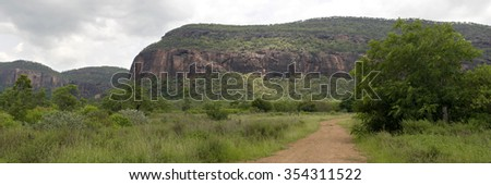 Former mining town Mount Mulligan with Mount Mulligan in the background, Queensland, Australia - stock photo