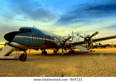Former US president John F Kennedys airplane Douglas VC 118 A Liftmaster Airforce One - stock photo