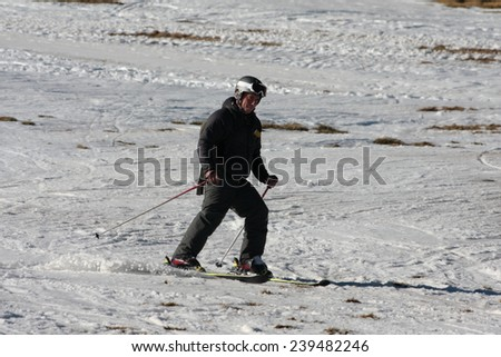 FORMIGUERES, FRANCE-DECEMBER 22, 2014:Skier to the ski resort of Formigueres in Pyrenees, Languedoc region of France