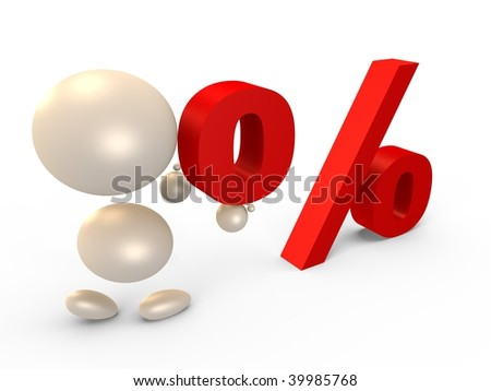 Forming the percent sign, left view - 3D image - stock photo