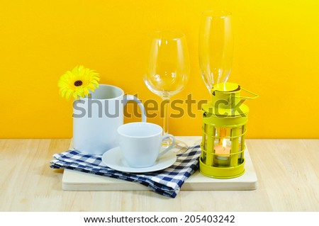 Forms furnished kitchen. With orange background - stock photo