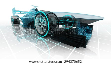 formula car  technology wireframe sketch perspective front view motorsport product background design of my own - stock photo