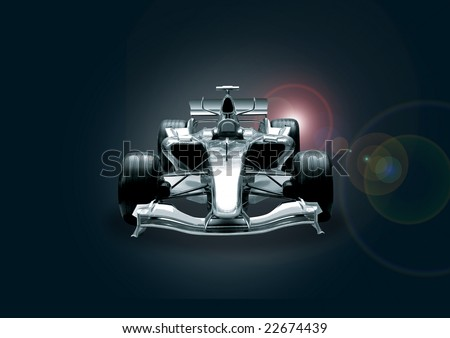 formula one car in black and chrome - stock photo