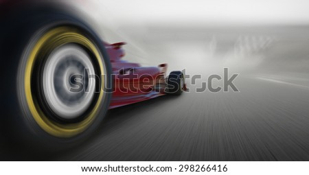 formula one car speeding - stock photo