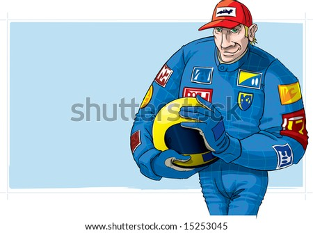Formula One driver, with helmet - stock photo