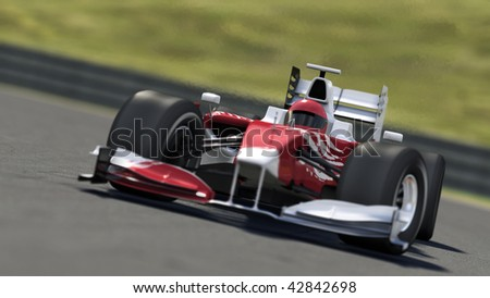 formula one race car on track - high quality 3d rendering - my own car design
