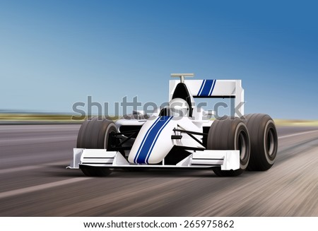 formula race car on speed track - motion blur - stock photo
