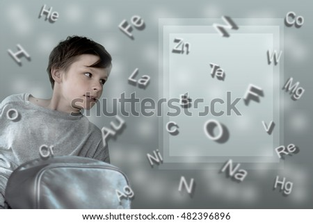 formulas. boy with school backpack on the background of table  Mendeleev