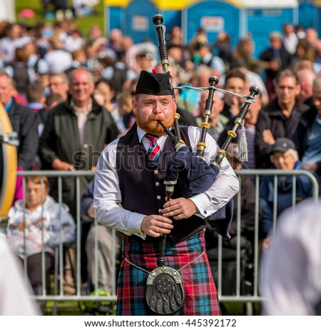 FORRES, MORAY, SCOTLAND - 25 JUNE: This is a scene from within the European Pipe Band Championships held at Forres, Moray, Scotland on 25 June 2016.