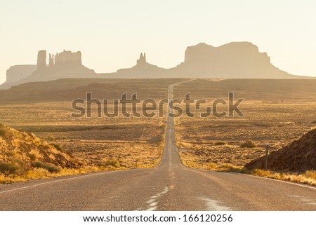 Forrest Gump Hill, Monument Valley twilight, AZ, USA