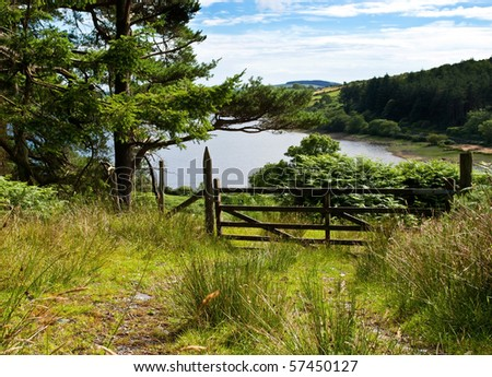 Forrest track with a wodden gate overlooking beautiful lake with blue cloudy sky - stock photo