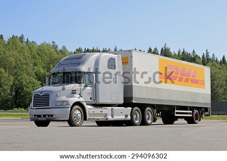 FORSSA, FINLAND - JULY 4, 2015: Conventional Mack Vision semi truck parked. Due to truck and trailer length regulations, conventional Mack trucks are rare in Finland. - stock photo