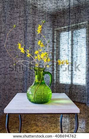 Forsythia branches in green vase on the table near black curtain. - stock photo
