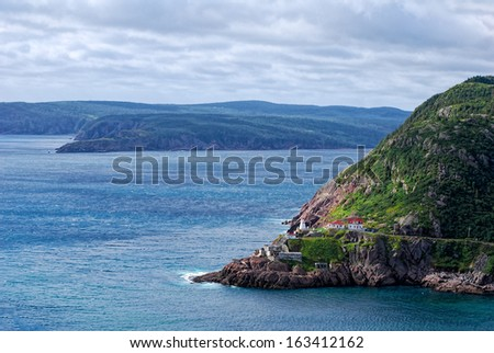 Fort Amherst and lighthouse on the east coast of Newfoundland  - stock photo