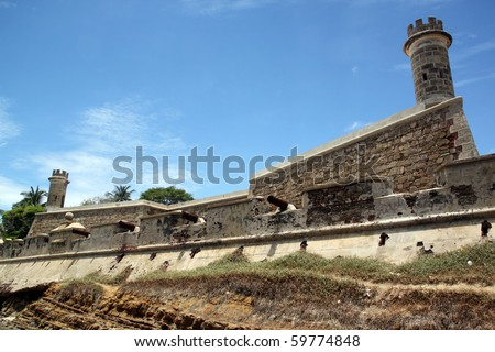 Fort and cannons on the coast in Pampatar, Venezuela