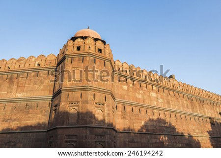 fort and wall in conner of Red Fort (Lal Qila) at south side. Delhi-World Heritage, Delhi, India - stock photo