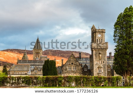Fort Augustus Abbey on Loch Ness, Scotland - stock photo
